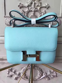 Hermes original epsom leather constance bag C23 sky blue