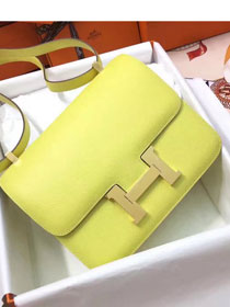 Hermes original epsom leather constance bag C23 yellow