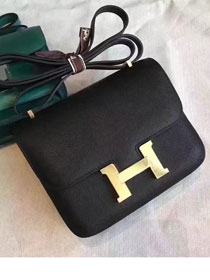 Hermes original epsom leather small constance bag C19 black