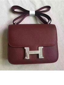 Hermes original epsom leather small constance bag C19 bordeaux