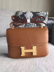 Hermes original epsom leather small constance bag C19 coffee
