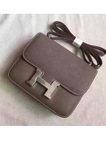 Hermes original epsom leather small constance bag C19 dark gray
