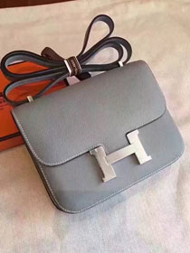 Hermes original epsom leather small constance bag C19 gray