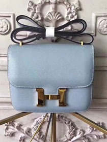 Hermes original epsom leather small constance bag C19 light blue