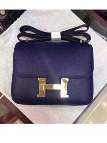 Hermes original epsom leather small constance bag C19 navy blue