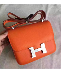 Hermes original epsom leather small constance bag C19 orange
