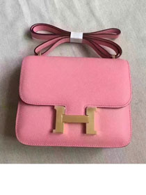 Hermes original epsom leather small constance bag C19 pink