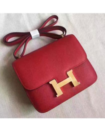 Hermes original epsom leather small constance bag C19 red