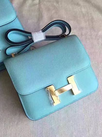 Hermes original epsom leather small constance bag C19 sky blue