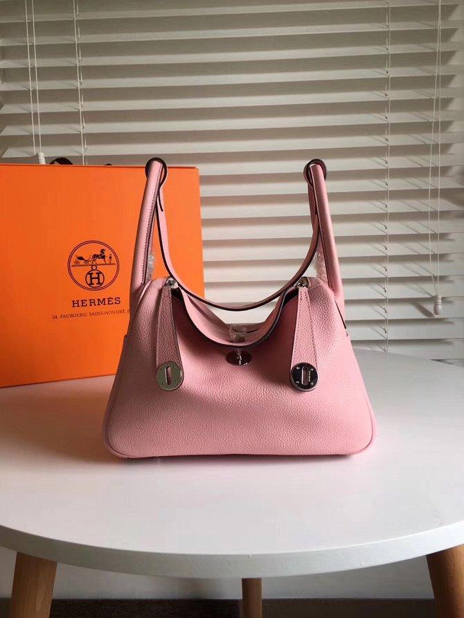 ... hot hermes original top togo leather medium lindy 30 bag h30 pink 31ef3  dcb72 ... 5906093bf67be