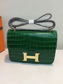 Hermes calfskin leather crocodile constance bag C023 green