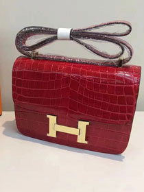 Hermes calfskin leather crocodile constance bag C023 red
