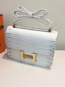Hermes calfskin leather crocodile constance bag C023 white