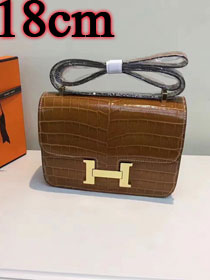 Hermes calfskin leather crocodile small constance bag C019 coffee