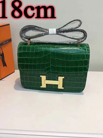 Hermes calfskin leather crocodile small constance bag C019 green