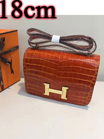 Hermes calfskin leather crocodile small constance bag C019 orange
