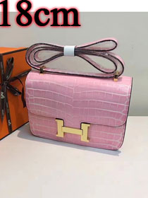 Hermes calfskin leather crocodile small constance bag C019 pink
