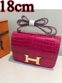 Hermes calfskin leather crocodile small constance bag C019 rose red
