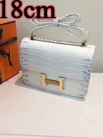 Hermes calfskin leather crocodile small constance bag C019 white