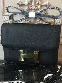 Hermes epsom leather constance 23 bag C230 black