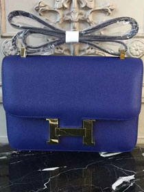 Hermes epsom leather constance 23 bag C230 blue