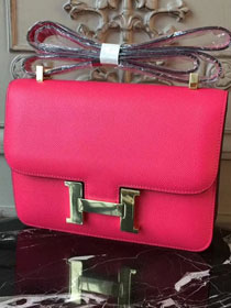 Hermes epsom leather constance 23 bag C230 rose red