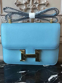 Hermes epsom leather constance 23 bag C230 sky blue