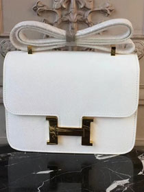 Hermes epsom leather constance 23 bag C230 white