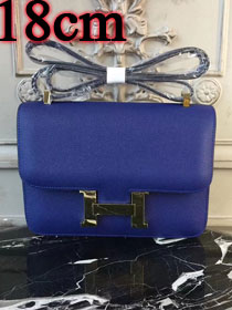 Hermes epsom leather small constance bag C19 blue