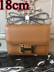 Hermes epsom leather small constance bag C19 coffee