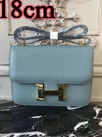 Hermes epsom leather small constance bag C19 light blue