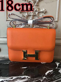 Hermes epsom leather small constance bag C19 orange