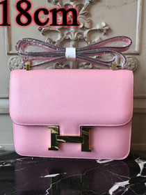 Hermes epsom leather small constance bag C19 pink