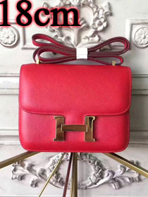 Hermes epsom leather small constance bag C19 red