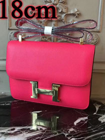 Hermes epsom leather small constance bag C19 rose red
