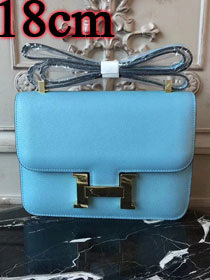 Hermes epsom leather small constance bag C19 sky blue