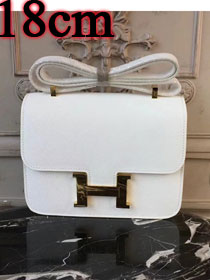 Hermes epsom leather small constance bag C19 white
