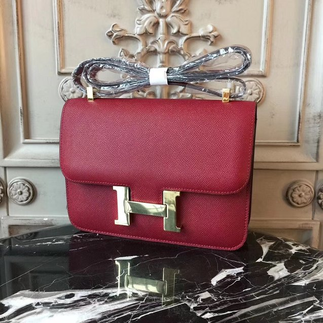Hermes epsom leather small constance bag C19 wine red