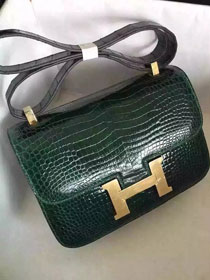 Top hermes 100% genuine crocodile leather constance bag C0023 blackish green