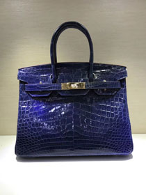 Top hermes genuine 100% crocodile leather handmade birkin 35 bag K350 deep blue