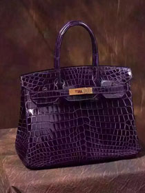 Top hermes genuine 100% crocodile leather handmade birkin 35 bag K350 deep purple