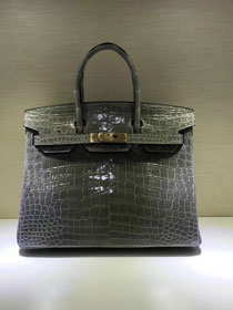 Top hermes genuine 100% crocodile leather handmade birkin 35 bag K350 gray