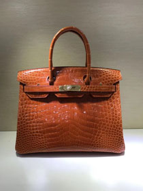 Top hermes genuine 100% crocodile leather handmade birkin 35 bag K350 orange
