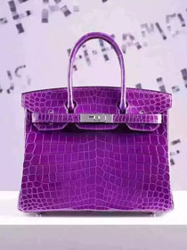 Top hermes genuine 100% crocodile leather handmade birkin 35 bag K350 purple