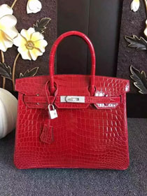 Top hermes genuine 100% crocodile leather handmade birkin 35 bag K350 red