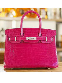 Top hermes genuine 100% crocodile leather handmade birkin 35 bag K350 rose red