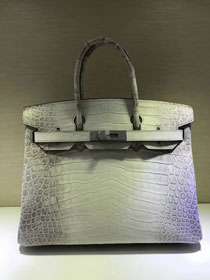 Top hermes genuine 100% crocodile leather handmade birkin 35 bag K350 white