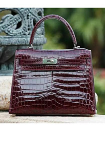 Top hermes genuine 100% crocodile leather handmade kelly 32 bag K320 bordeaux