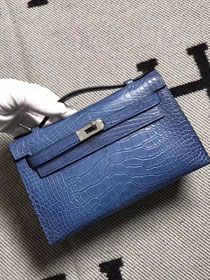 Top hermes genuine 100% crocodile leather handmade mini kelly clutch K220 blue
