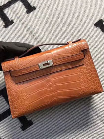 Top hermes genuine 100% crocodile leather handmade mini kelly clutch K220 coffee